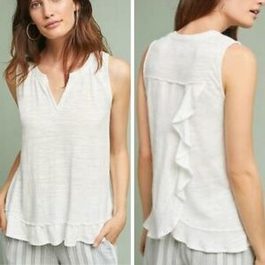 Anthropologie Poinsot Ruffle Back Tank Top XS